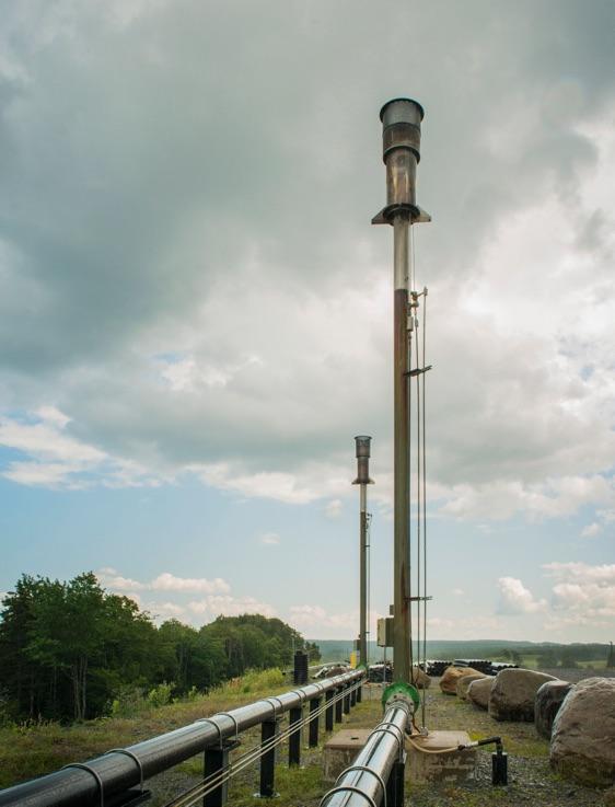 Flares destroy methane gas at Oneida-Herkimer Regional Landfillin New York.