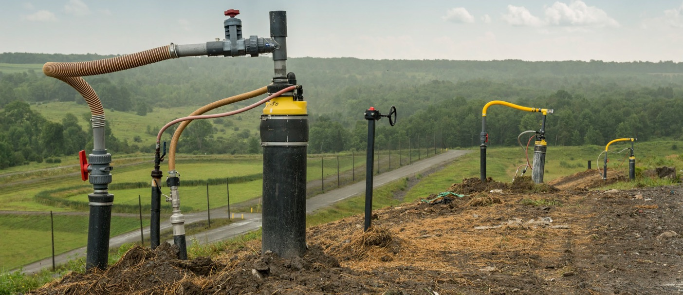 Wells capture methane gas at Oneida-Herkimer Regional Landfill in New York.